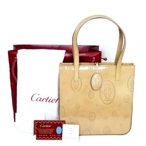 Cartier Beige Patent Leather Happy Birthday Tote